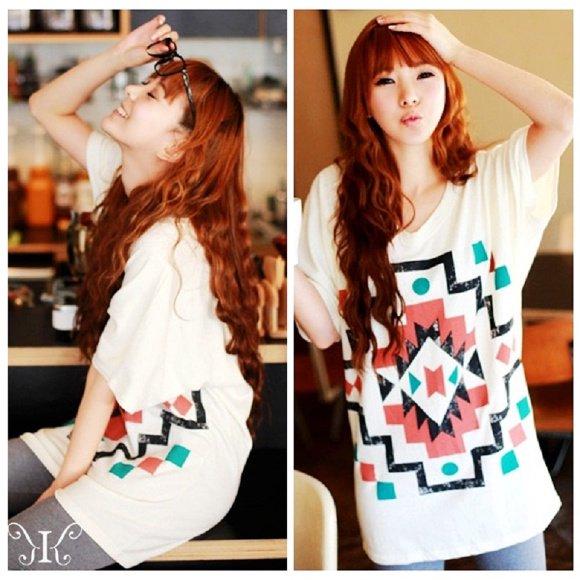 【特価】激安大きいサイズ☆可愛い 幾何学 プリント ドルマン Tシャツ