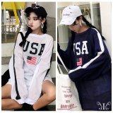 LL~4L USA アメリカ国旗プリント 長袖Tシャツ