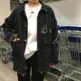韓国風 ダメージ刺繍 デニムジャケット