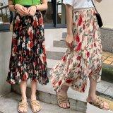 3L-5L 上品花柄プリーツミモレ丈スカート