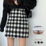 3カラー ブラックチェック ミニタイトスカート