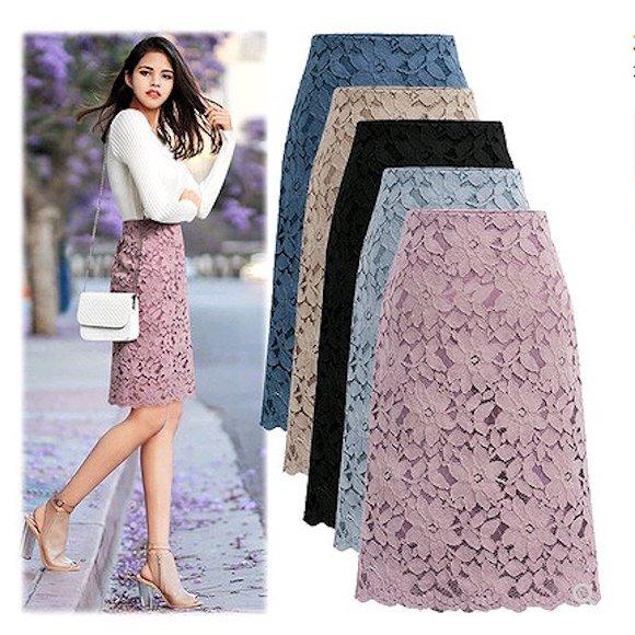 大きいサイズレディース 透かし編みお花レースタイトスカート