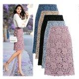 L-5L 透かし編みお花レースミニタイトスカート