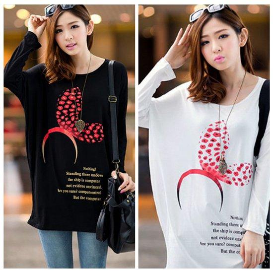 【特価】激安大きいサイズ☆リボンカチューシャ♪プリントTシャツ