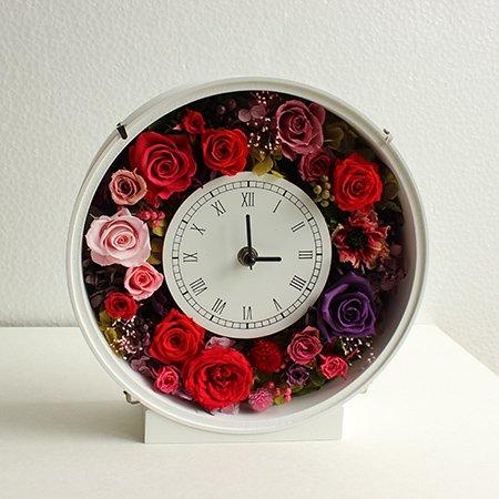 花時計◇丸型ホワイト:プリザーブドフラワー