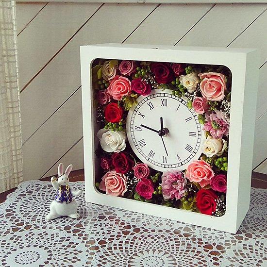 花時計◇四角型ホワイト:プリザーブドフラワー