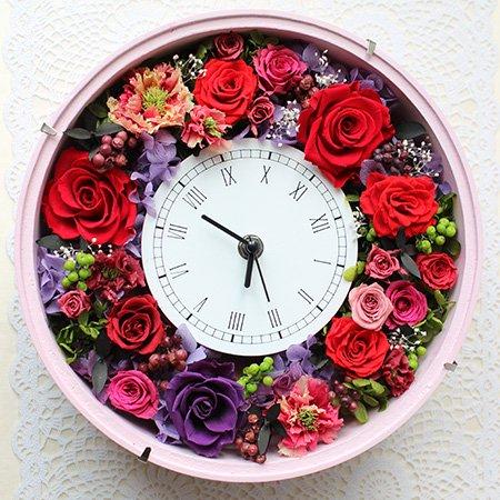 花時計◇丸型ピンク:プリザーブドフラワー