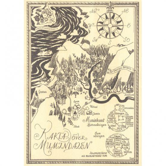 こちらのポスターはフィンランド国内限定で発売され、日本では大変入手困難となっております。 地図の中には小さいですが、ムーミン、スノークのお嬢さん、ヘムレン、