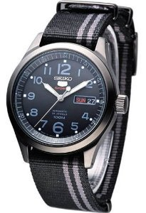 Seiko(セイコー)5 Sports #SRP277 Men's Military Nato Black Grey Band 100M 24 Jewels Automatic