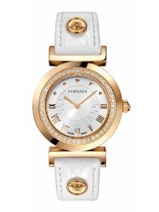 Versace(ベルサーチ)Women's P5Q82D001 S001 Vanity Rose Gold Ion-Plated Stainless Steel Leather Band