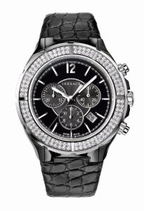Versace(ベルサーチ)Women's 28CCS91D008 S009 DV ONE Black Ceramic Case Leather Band Chronograph Diam