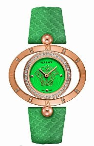 Versace(ベルサーチ)Women's 91Q81FD220 S220 Rose Gold Ion-Plated Rotating Bezel Green Dial Snake Lea