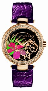 Versace(ベルサーチ)Women's I9Q81D9HI S702 Mystique Rose Gold Ion-Plated Stainless Steel Violet Leat