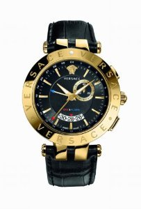 Versace(ベルサーチ)Men's 29G70D009 S009 V-RACE Round Yellow Gold Ion-Plated Stainless Steel GMT Ala
