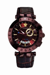Versace(ベルサーチ)Men's 29G60D598 S497 V-Race Brown Ion-Plated GMT Alarm Date Leather