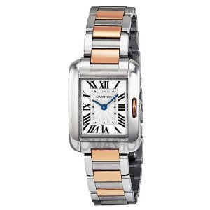 Cartier(カルティエ)Tank Anglaise Small Automatic Silver Dial 18 kt Rose Gold & Steel Ladies W53100…
