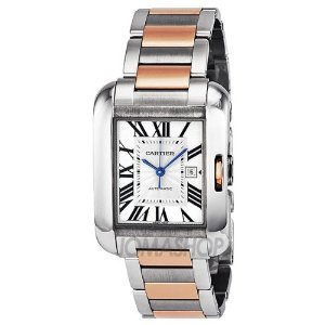 Cartier(カルティエ)Tank Anglaise Medium Automatic Silver Dial 18 kt Rose Gold & Steel Unisex W5310…