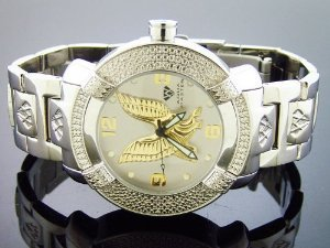 Aqua Master(アクアマスター)Large 45mm Round 20 Diamonds Silver & Yellow Gold Eagle Face