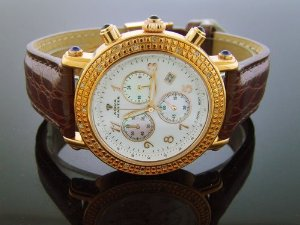 Aqua Master(アクアマスター)Round 40mm 20 Diamond Rose Gold Case Brown Band