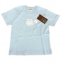 オーガニックコットン こども服 Tシャツ水色 ネコ  半袖