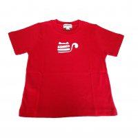 オーガニックコットン こども服 Tシャツ赤 ネコ  半袖