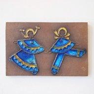 Knabstrup D.Hein 青い服の男女の陶板/デンマーク ヴィンテージ