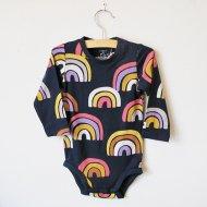 LINDEX/リンデックス 虹のロンパース(ネイビー)/カバーオール(74/80)