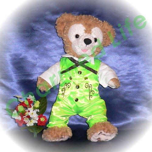 ダッフィー(S) 刺繍付き黄緑ベストセット