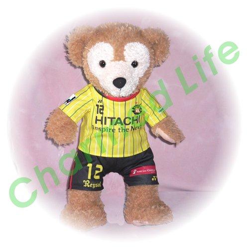 ダッフィー 服 Sサイズ 柏の2012年黄色のユニフォーム風 ダッフィーのコスプレ服 衣装 サッカー 番号ネーム指定可