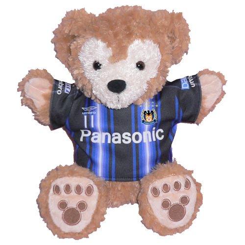 ダッフィー 服 パペットサイズ 大阪の2015年縦ボーダーのユニフォーム風 ダッフィーのコスプレ服  衣装  サッカー 番号ネーム指定可