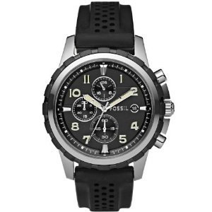 Fossil(フォッシル)Notched Bezel Silicone Strap Chronograph Mens FS4613,