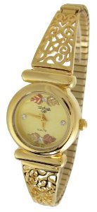 Black Hills Gold(ブラックヒルズゴールド)Womens  12k Gold Leaves Champagne Face with Crystal Accents