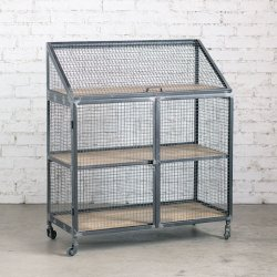 <font color=#4ba519>[再入荷]</font> <font color=red>送料無料</font>IRON MESH CABINET WITH WOODEN SHELVES