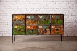 IRON RE WOOD 8DR CHEST