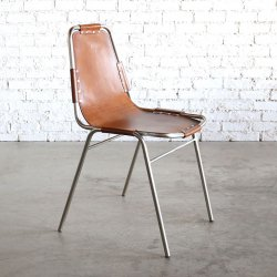 LEATHER STEEL CHAIR SILVER/CAMEL