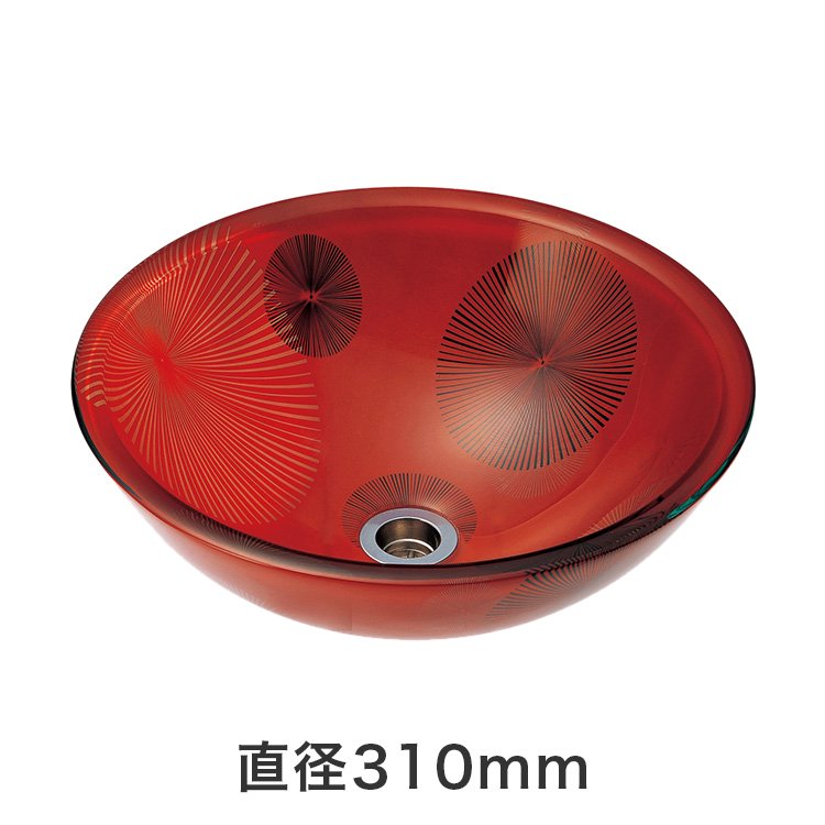 強化ガラス洗面ボウル 花火 SSサイズ(直径310mm)