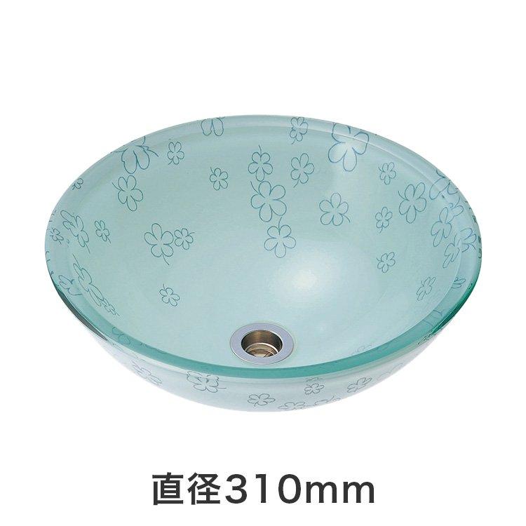 強化ガラス洗面ボウル 蒼い花 SSサイズ(直径310mm)