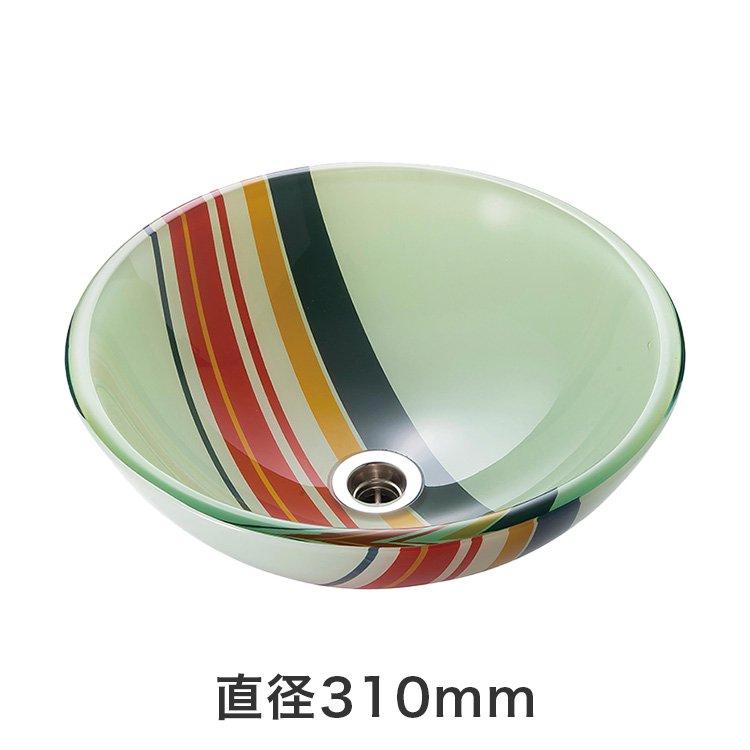 強化ガラス洗面ボウル レトロボーダー (直径310mm)