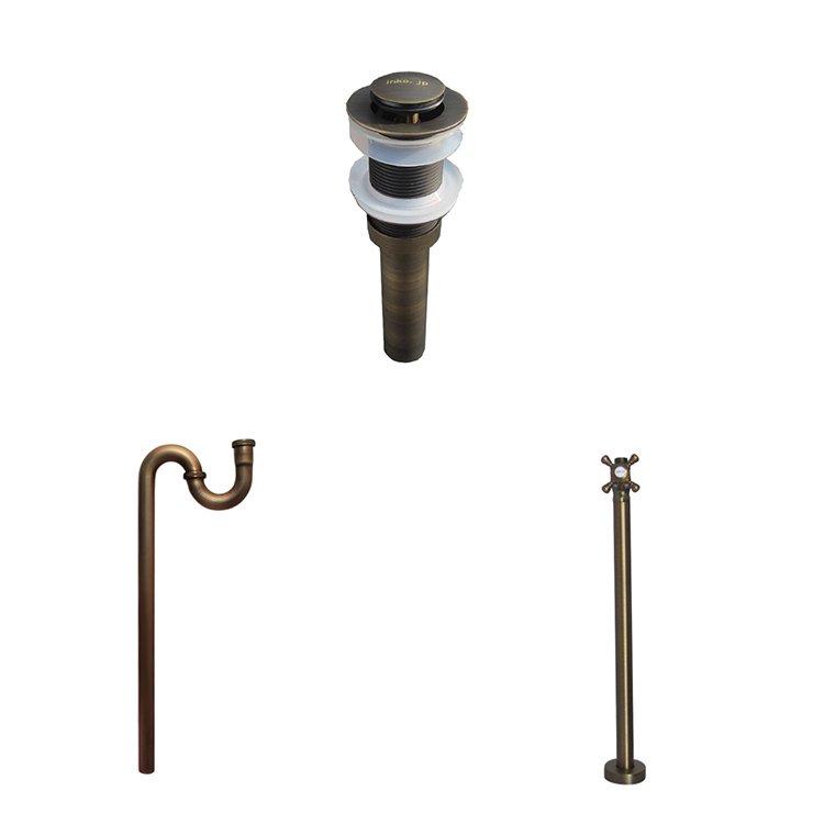 古銅 水栓・床給水・床排水用(32mm)、3点セット