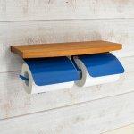 木製棚付トイレットペーパーホルダー TPH ウッドシェルフ W PBL