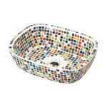 磁器製洗面ボウルタイル ファボリ レクタングル マルチ