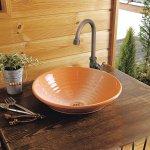 美濃焼オレンジ白吹き・グースネック型サイドハンドル式単水栓セット