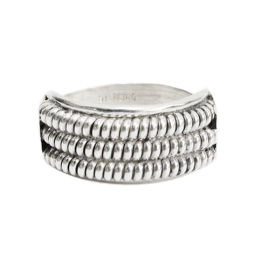 Navajo Indian Jewelry Triple Rope Ring -Sterling Silver-