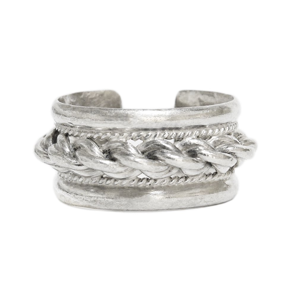 Vintage 1960's Heavy Rope Cuff Ring -Sterling Silver-