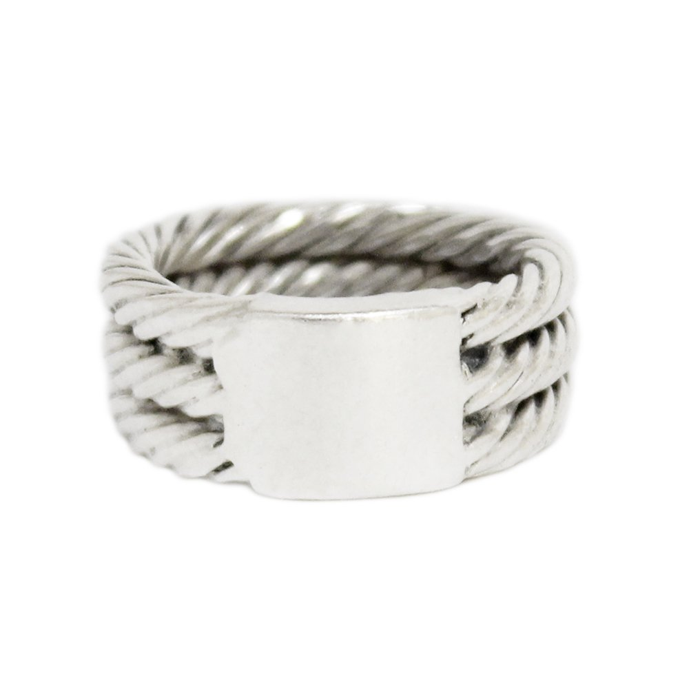 Vintage 1960's Mexican Triple Rope ID Ring -Sterling Silver-