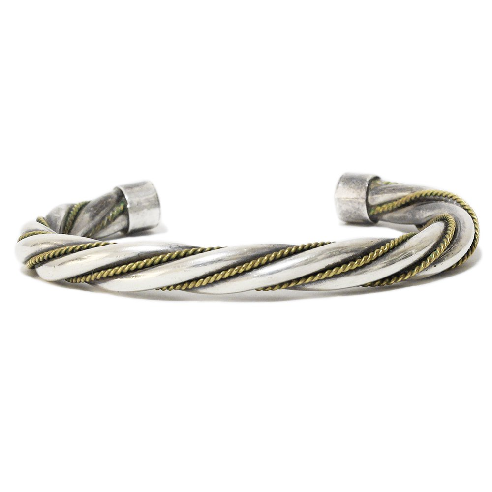 Vintage 60's Mexican Twist Bangle -Silver & Gold-