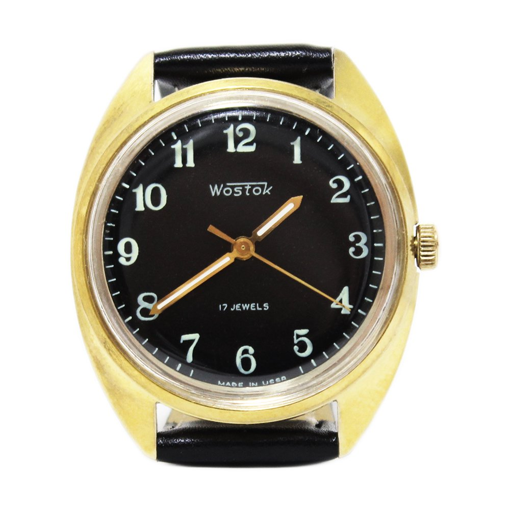 Vintage 1970's Vostok Soviet Russian Wrist Watch -Gold × Black-