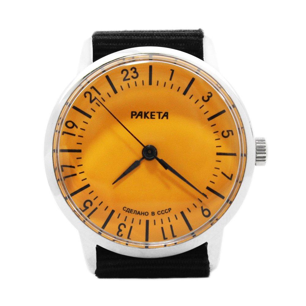 【New Old Stock】RAKETA Russian Wrist Watch 24 Hours Movement -CCCP-