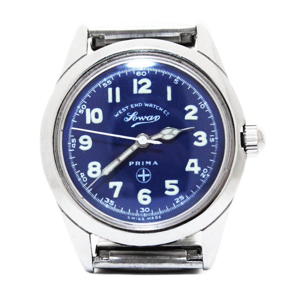 Vintage 70's West End Watch Co. Sowar Military Watch Blue -Swiss Made-