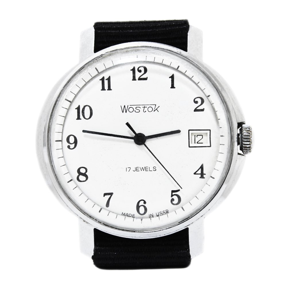 Vintage 1970's Vostok Soviet Russian Wrist Watch -White × Black-